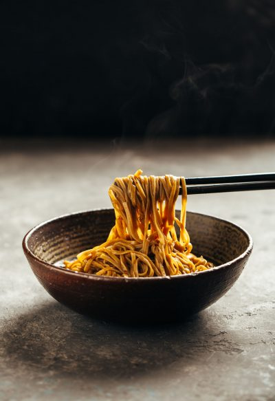 Freshly cooked soba noodles in a bowl